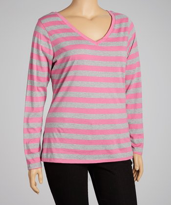 Parus Pink & Light Heather Gray Stripe Scoop Neck Top - Plus