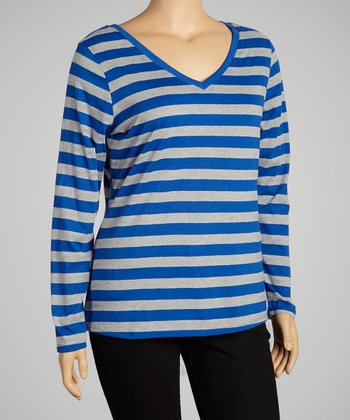 Surf The Web & Light Heather Gray Stripe Scoop Neck Top - Plus