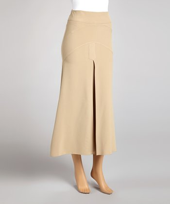 Beige Panel Box Pleat Skirt