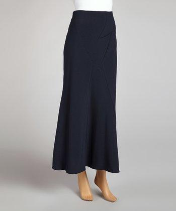 Wall Street Navy V-Panel Skirt - Women & Plus