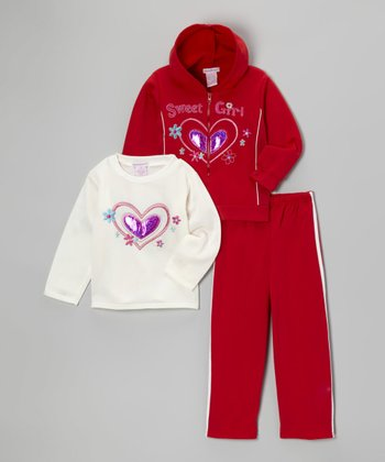 Red 'Sweet Girl' Zip-Up Hoodie Set - Toddler & Girls