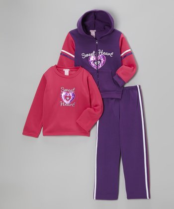 Purple 'Sweet Heart' Fleece Zip-Up Hoodie Set - Girls