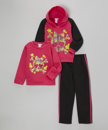 Fuchsia Skull Fleece Zip-Up Hoodie Set - Toddler & Girls