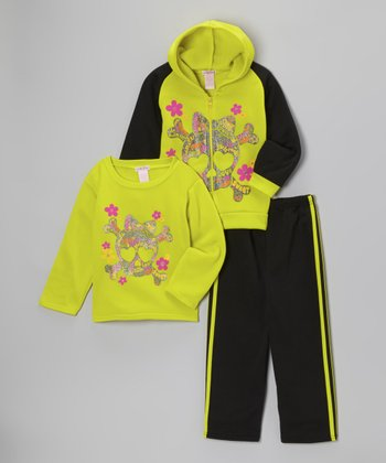 Neon Green Skull Fleece Zip-Up Hoodie Set - Toddler & Girls