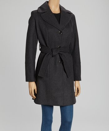 Charcoal Wool-Blend Belted Coat
