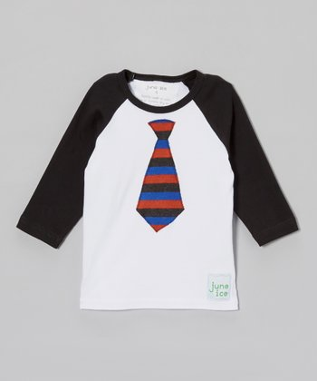 White & Black Tie Raglan Tee - Toddler & Boys