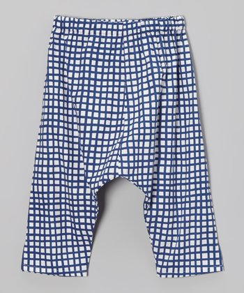 White & Blue Square Ninja Pants - Toddler