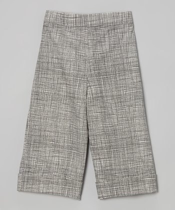 Brown & White Wide-Leg Trousers - Toddler