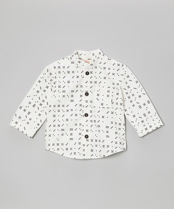 White Domino Banded-Collar Button-Up - Toddler
