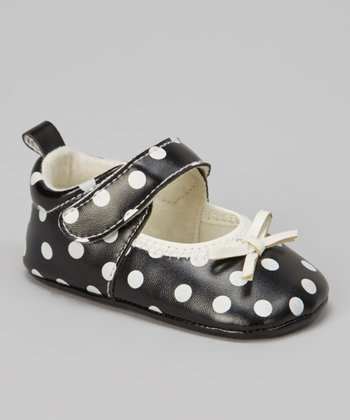 Black & White Polka Dot Bow Mary Jane