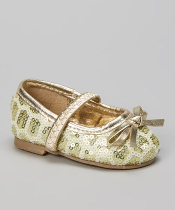 Gold Bow Sequin Flat