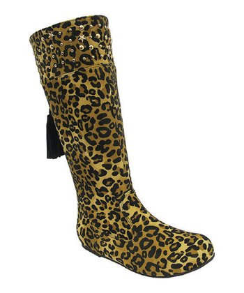 Brown Leopard Studded Tania Boot