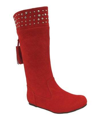 Red Studded Tania Boot