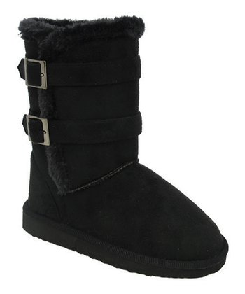 Black Double-Buckle Faux Fur Gaia Boot