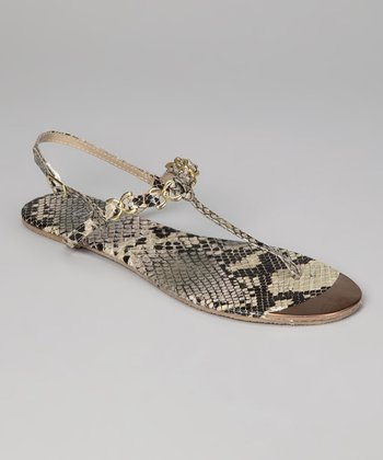 Brown & Gold Snakeskin Chain T-Strap Sandal