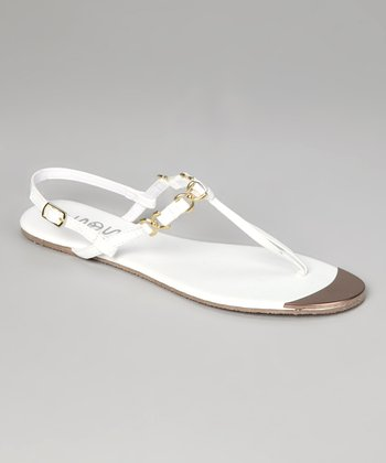 White & Gold Chain T-Strap Sandal