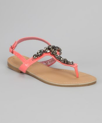 Coral Jeweled T-Strap Sandal