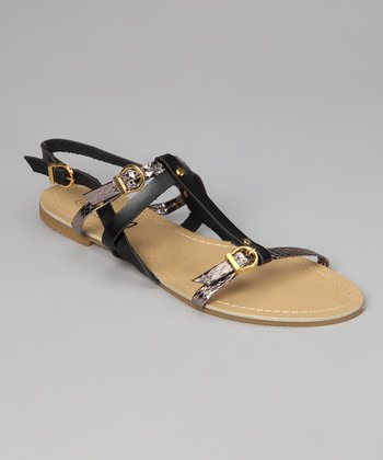 Black & Gold Strappy Sandal