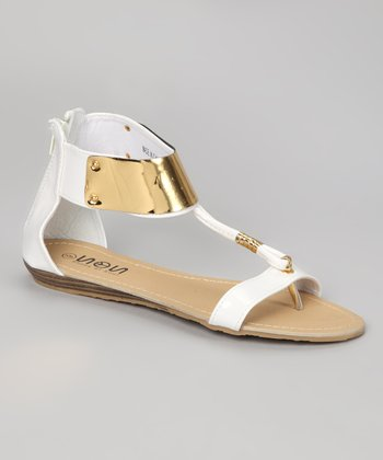 White & Gold Gladiator Sandal
