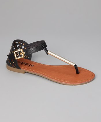 Black & Gold Cutout Buckle Sandal