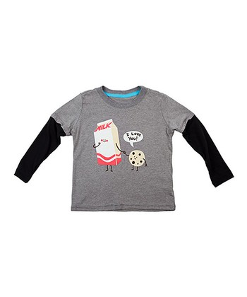 Heather Gray Cookie Loves Milk Layered Tee - Toddler & Kids