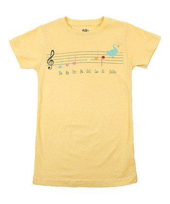 Sun Yellow Music Lesson Tee - Girls