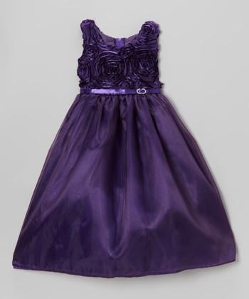 ClassyKidzShop Purple Rosette Swirl Dress - Toddler & Girls