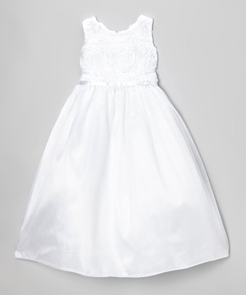 White Rosette Swirl Dress - Toddler & Girls