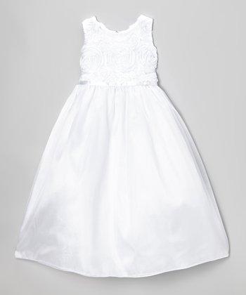 White Rosette Swirl Dress - Toddler & Girls