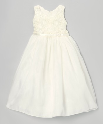 Ivory Rosette Swirl Dress - Toddler & Girls
