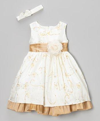 ClassyKidzShop Ivory & Beige Flower Dress & Headband - Infant & Toddler