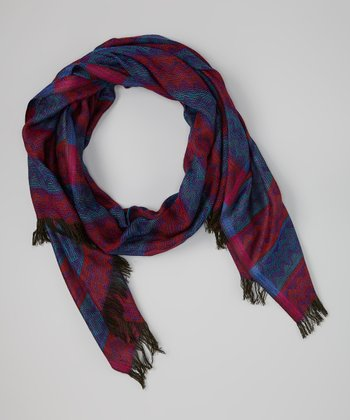 Royal Blue & Cranberry Zigzag Shawl