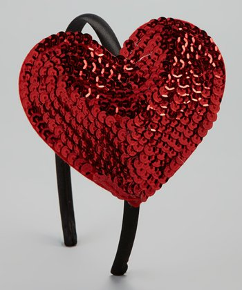 Red & Black Sequin Heart Headband