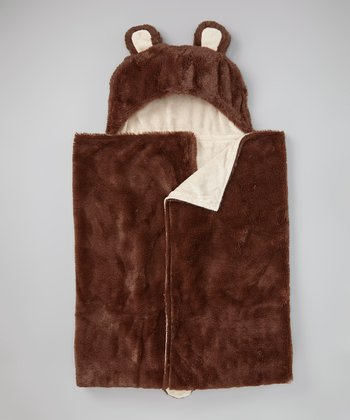 Beige Bear Hooded Blanket