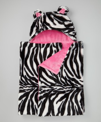 Hot Pink Zebra Hooded Blanket