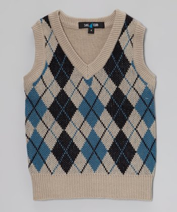 Cream & Dark Blue Argyle Sweater Vest - Boys