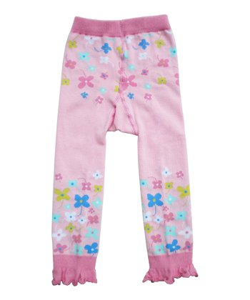 Pink Floral Ruffle Leggings - Infant
