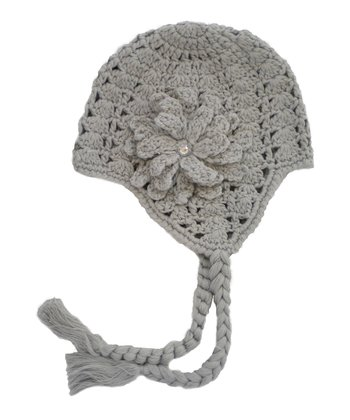Gray Flower Crocheted Earflap Beanie
