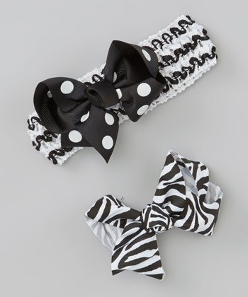 Black & White Headband & Clip Set