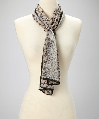 Black Snakeskin Sheena Scarf