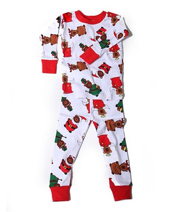 Red & White Beary Merry Organic Pajama Set - Toddler & Kids