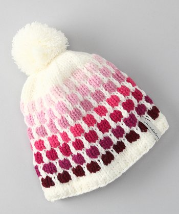 Cream & Pink Polka Dot Pom-Pom Beanie - Infant