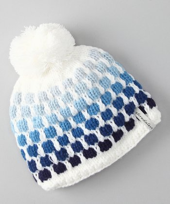 White & Blue Polka Dot Pom-Pom Beanie - Infant