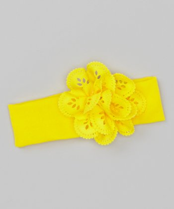 Yellow Perforated Flower Headband