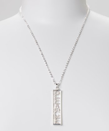 Silver Crystal 'Peace' Pendant Necklace