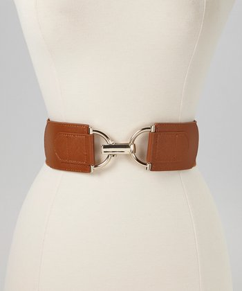Cognac & Silver Interlock Stretch Belt