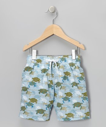 Light Blue Turtle Love Swim Trunks - Infant, Toddler & Boys