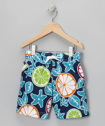 Blue Citrus Swim Trunks - Infant, Toddler & Boys