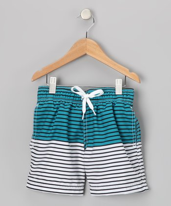 Blue Stripe Horizon Swim Trunks - Boys