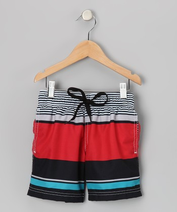 Red & Navy Block Party Swim Trunks - Toddler & Boys